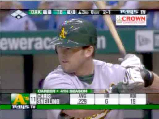 Chris Snelling's first at-bat with Oakland